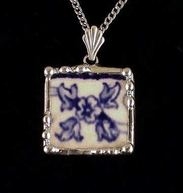Broken china jewelry necklace flow blue floret by Laura Beth Love Dishfunctional Designs