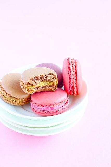 Beautifully hued, sweet, crunchy macarons. #cooking #food #dessert #baking #pink #macarons #cookies