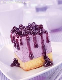 Blueberry Cheesecake - a firm cheesecake finished with a sweet blueberry topping