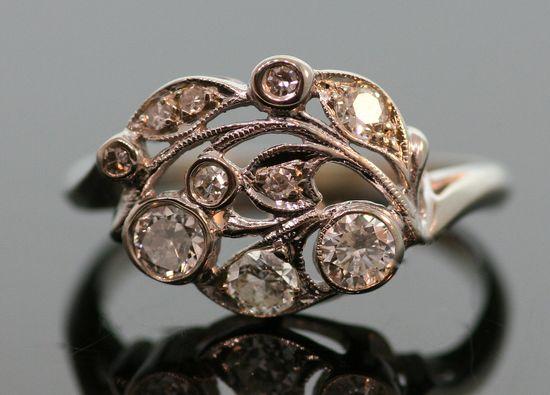 ring - Antique 1930s Diamond Ring-14k White Gold.