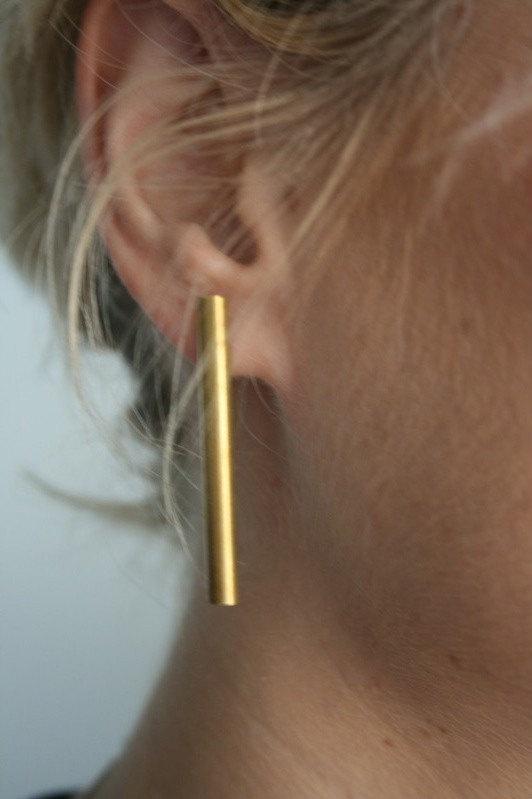 Brass Bar Earrings - Laura Lombardi Jewelry