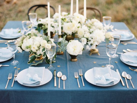blue + white tablescape with a touch of gold