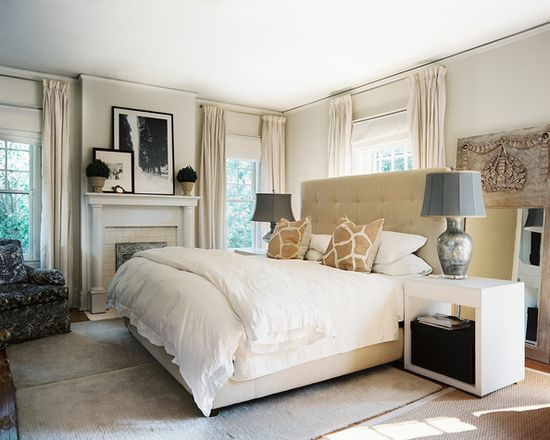 tufted headboard and white bed linens in a neutral master bedroom. #neutral #light #headboard