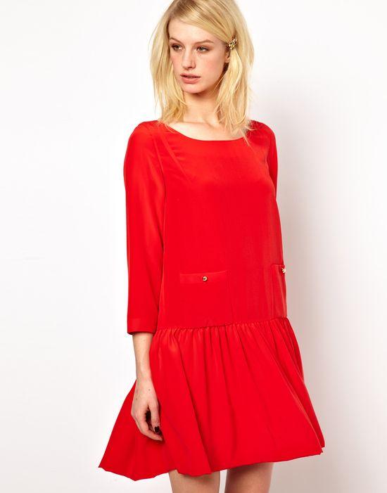 drop waist red dress