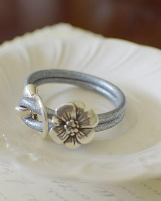Silver Leather Bracelet with Hook Latch by RachellesJewelryBox