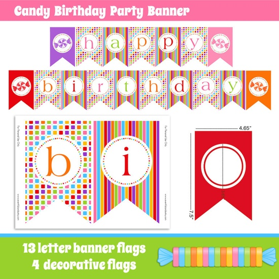 INSTANT DOWNLOAD Candy Birthday Party Banner - Printable. $9.00, via Etsy.