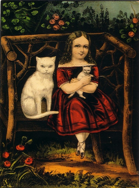 The Little Pets - girl with white cats