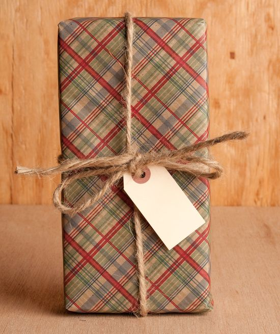 Holiday plaid gift wrap