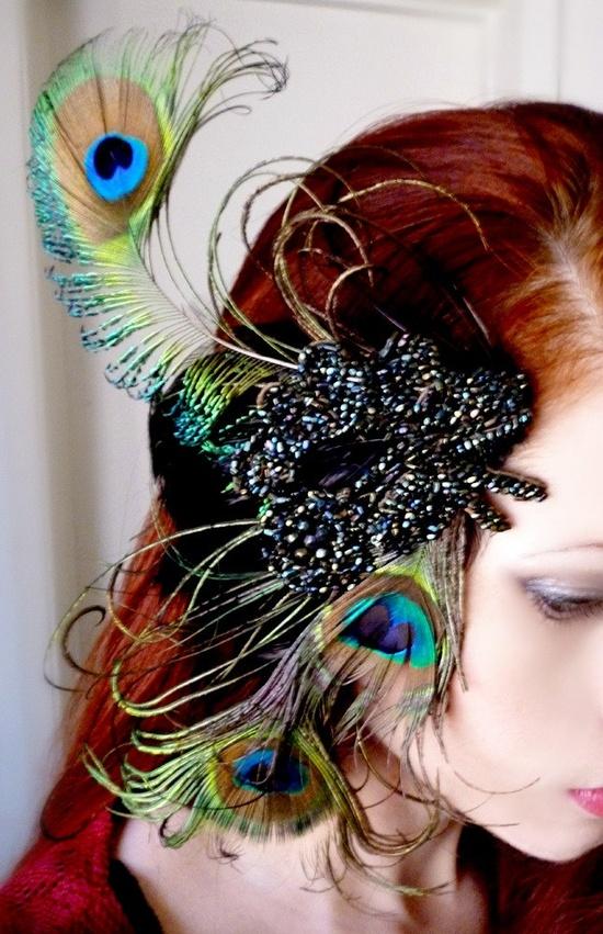 Victorian Peacock Feather Fascinator Headdress by RoseoftheMire. $51.60, via Etsy.
