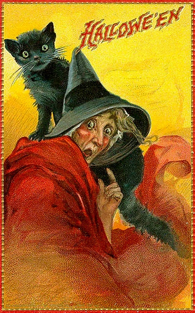 Vintage Halloween- red caped witch and black cat