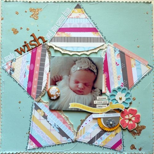 I Made a Wish and You Came True - by Paige Evans using products from American Crafts. #PeachyKeen #scrapbooking #baby #wish #layout