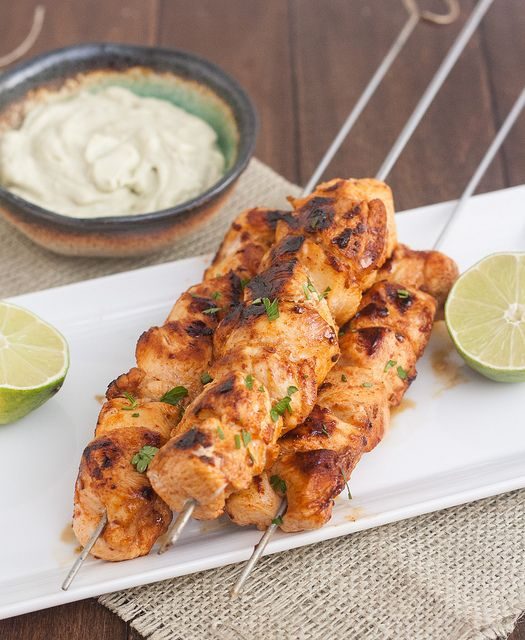 Chipotle Chicken Kebabs with Avocado Cream Sauce by traceysculinaryadventures  #Kebabs #Chicken #Chipotle #Avocado