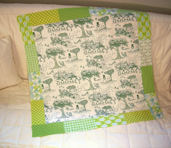 Quilt by Patty Sloniger features Samarra Khaja's Teach Your Children Well: A Toile for Tots fabric