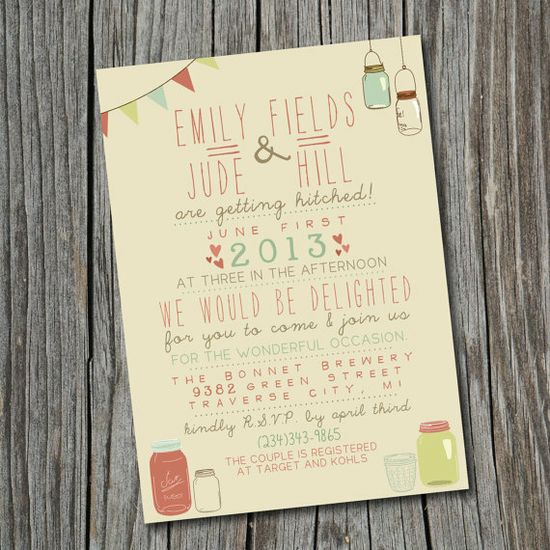Wedding Invitation - Printable, Custom - DIY Wedding - Vintage