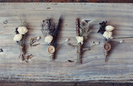 chocolate brown and ivory flower boutonniere