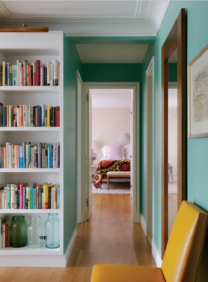 pretty turquoise walls.
