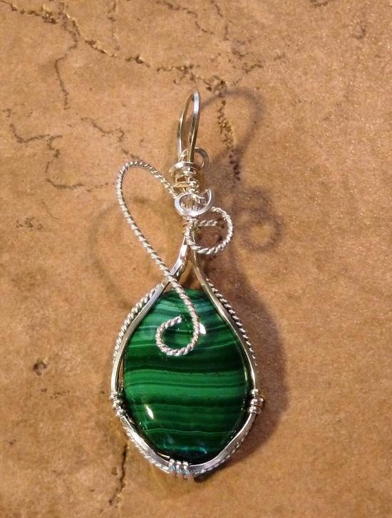 Green Malachite, Sterling Silver Argentium