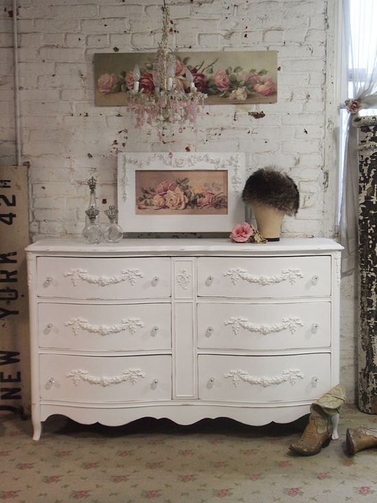 Painted Cottage Chic Shabby White French Dresser DR99 via Etsy