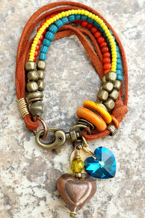 Heart Charm Bracelet: Glass, Mixed Metals and Leather Charm Bracelets