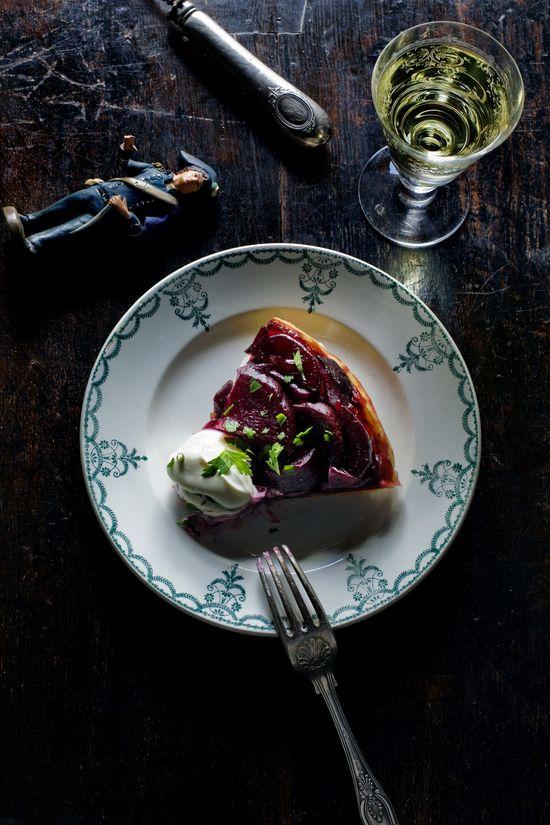 Beetroot tarte tatin slice