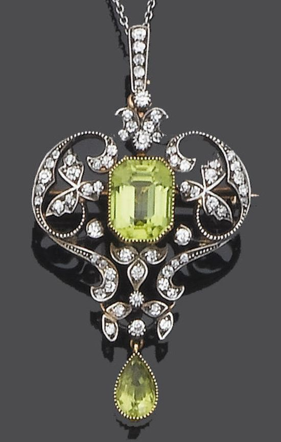 An early 20th century peridot and diamond brooch/pendant, circa 1900