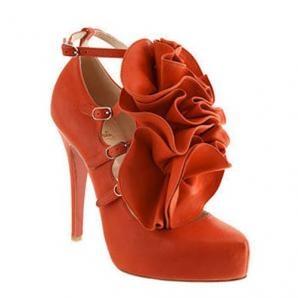 נעלי עקב סגורות בגווני כתום וברונזה