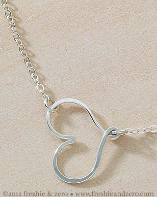 freshie and zero handmade jewelry - sideways heart necklace