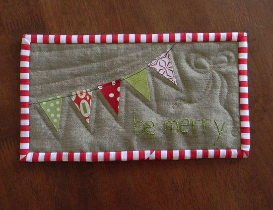 Be Merry mug rug by teaginny, via Flickr