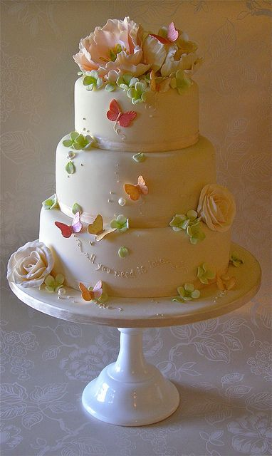 Simple and pretty cake with flowers and butterflies.