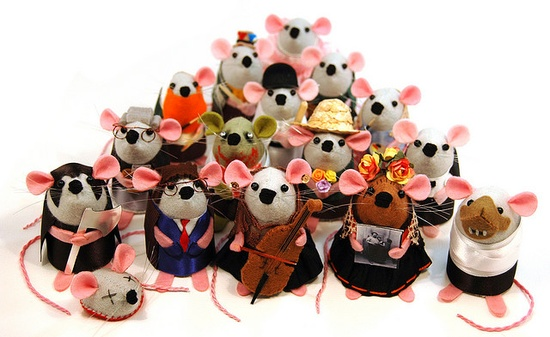 Collection of famous felt mice