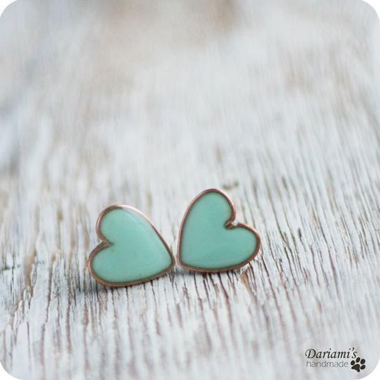 Post earrings  Mint green Hearts