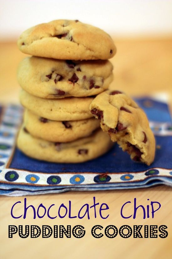 Chocolate Chip Pudding Cookies:  2 1/4 C. all-purpose flour   1 tsp. baking soda   1 C. margarine or butter, softened   3/4 C. brown sugar   1/4 C. white sugar   1 3.4-oz. package instant vanilla pudding   1 tsp. vanilla extract   2 eggs, room temperature   2 C. chocolate chips