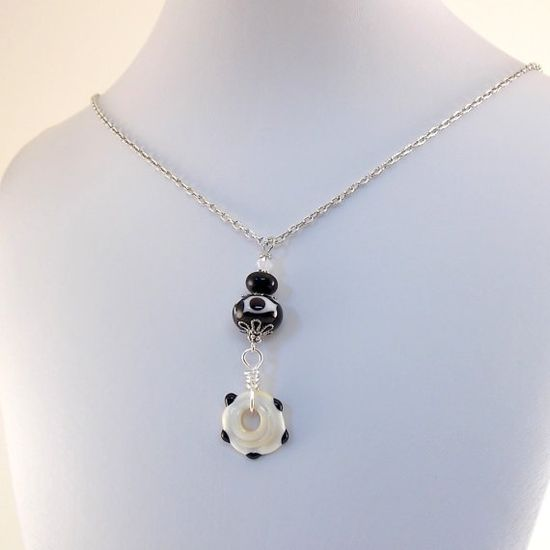 Black and White Necklace Handmade Lampwork by CinLynnBoutique, $30.00