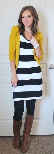 Cute basic black and white strip dress tightsv ...