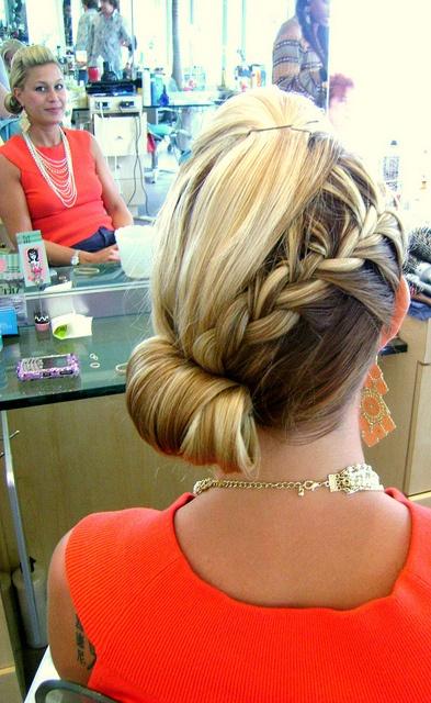 braid and side chignon