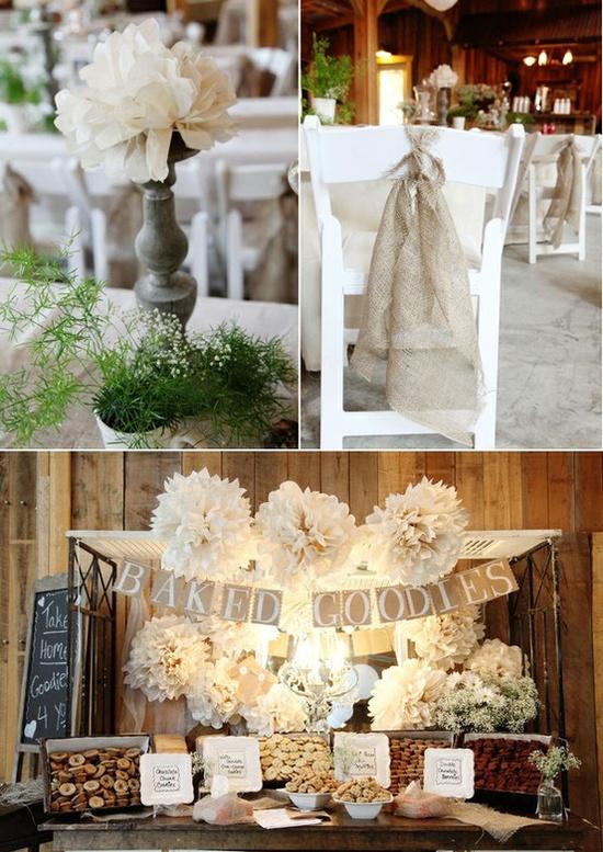 Burlap and white wedding