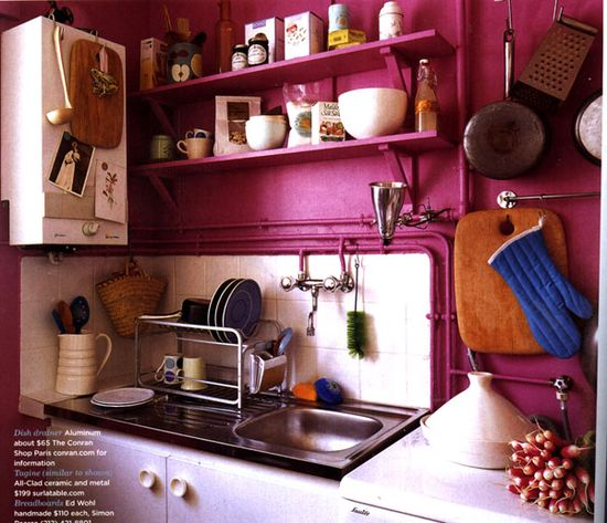 a perfect pink kitchen