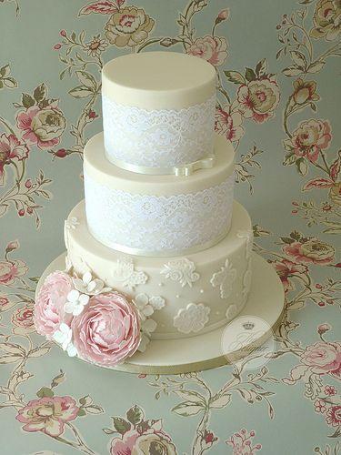 Lace & peony wedding cake