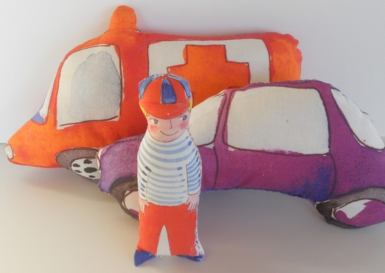 Eco Friendly Plush Toys, Boy and his cars, Toy Vehicles, Baby toys, Nursery Decor.
