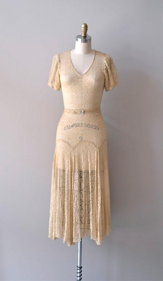 1930s Lux Aurumque silk lace dress