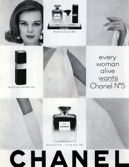 """""""Every woman alive wants Chanel N°5."""" #vintage #1960s #perfume #ad #beauty"""
