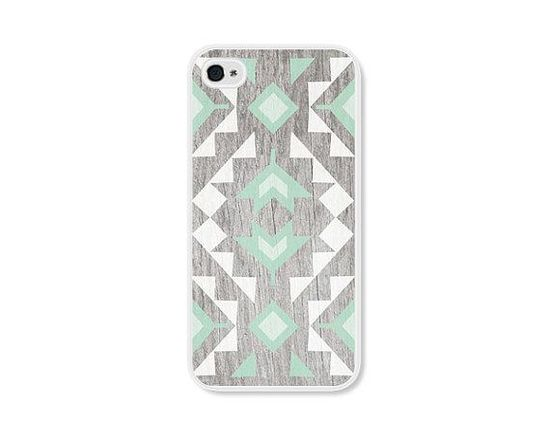 Mint Geometric iPhone  Case.  Cute & Rustic.