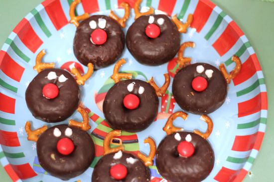 Cute Rudolph donuts at a North Pole Breakfast!  See more party ideas at CatchMyParty.com!  #Christmas #partyideas