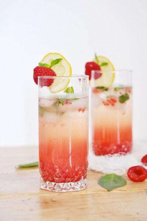 Raspberry Basil Champagne Cocktail