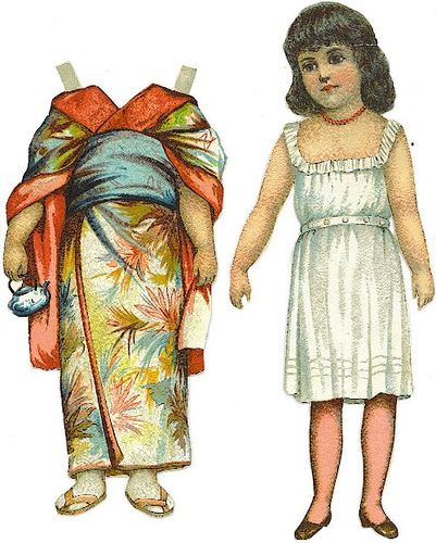 Paper Doll in Japanese Kimono