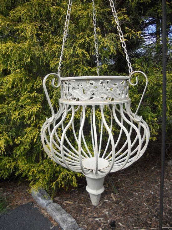 Planter Wrought Iron Garden Decor