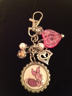 Winnie the Pooh's Piglet Bottle Cap keychain. $5.00, via Etsy.