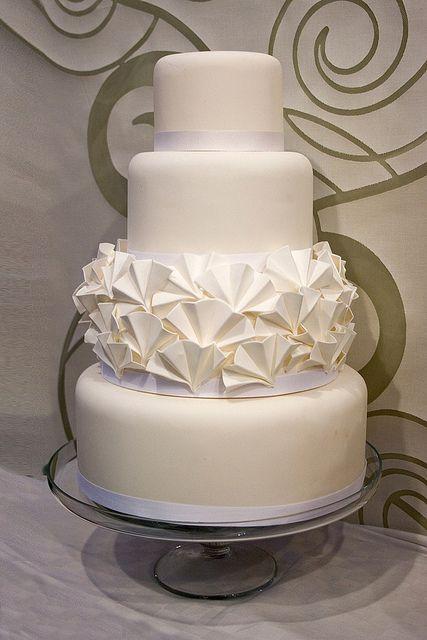 White Ruffle Wedding Cake, via Flickr.
