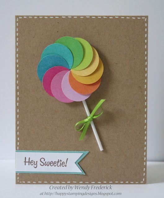 hey sweetie lollipop handmade card