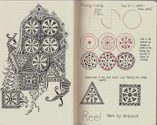 Reel-tangle pattern by molossus, who says Life Imitates Doodles, via Flickr